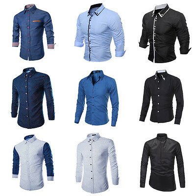 Luxury Fashion Men's Slim Fit Shirt Long Sleeve Dress Shirts Casual Shirts Tops