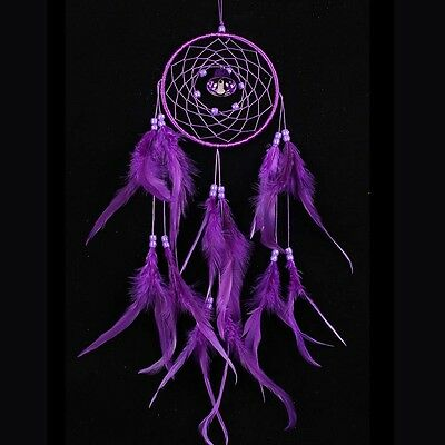 Purple Circular Dream Catcher With Feather Wall Hanging Decoration Ornament New