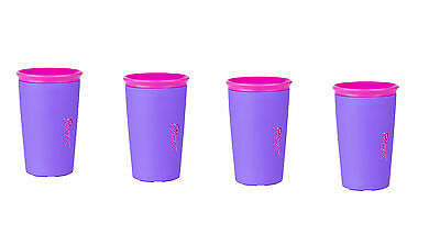 (4)WOW Cup As Seen On TV, Brand NEW Spill Free 360 Even Seal PURPLE Pink