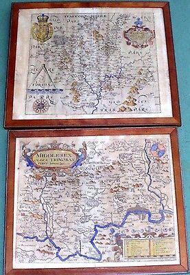 "PAIR ORIGINAL 1610 ENGLISH MAPS: MIDDLESEX with LONDON, & ""WIGORNIENSIS""~BRITAIN"