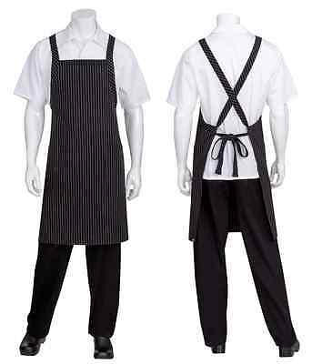 Chef Cook Waiter Chef Works White/Black Pinstripe Crossover Back Bib Apron w/poc