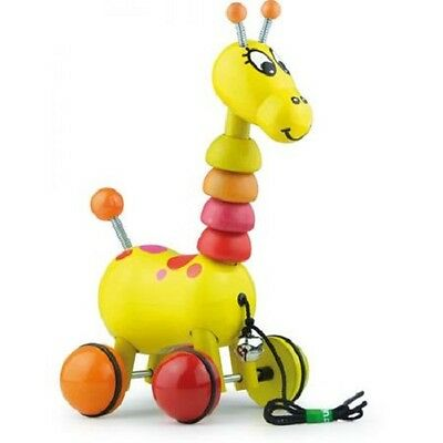 NEW Paf the Giraffe Springy Horns & Tail Wooden Pull Toy - Develop Coordination