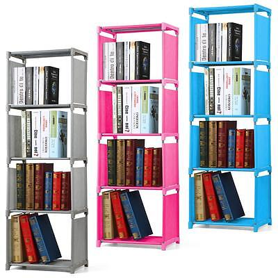 4 Tier Kids Bookcase Bookshelf Childrens Room Waterproof Fabric Storage Shelves