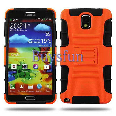 Orange Stand Shock Proof Hybrid Rugged Hard Case Cover For Samsung Galaxy Note 4