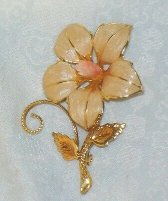 Carved CORAL Enamel FLOWER PIN Peach color Brooch