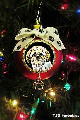 Shih Tzu Painted Christmas Ball Ornament Pet Lovers Gift by TJS Furbabies