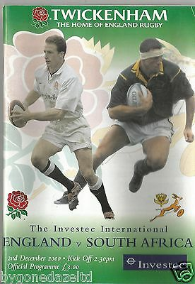 ENGLAND v SOUTH AFRICA 2000 RUGBY PROGRAMME at TWICKENHAM