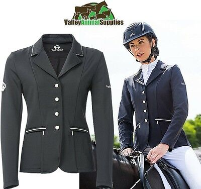 Equi-Theme Cristal Ladies Competition Jacket With Diamantes Black Brown Navy