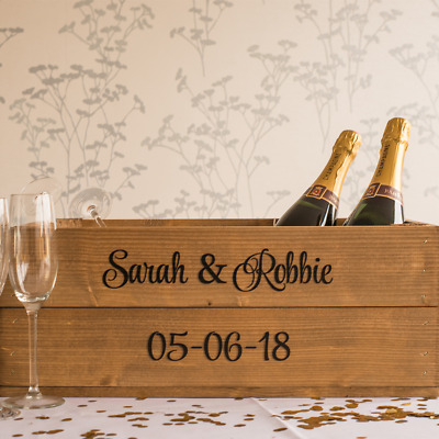 Personalised Rustic Wooden Shallow Apple Crate Box (Vintage Style) for Weddings
