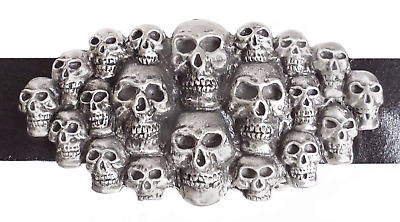 A Multitude of Skulls Belt Buckle - Hand Made in Pewter