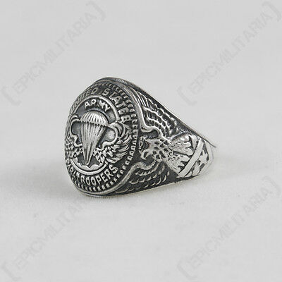 US PARATROOPERS QUALIFICATION RING - Repro Silver American Military Jewellery