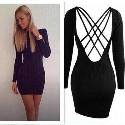 Women Sexy Backless Long Sleeve Back Cross Bandage Cocktail Paty Slim Dress B