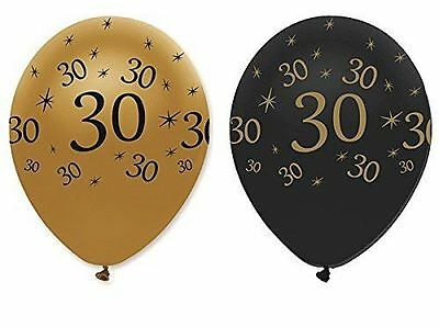 "Black Gold Pack of 6 12"" Birthday 30 Latex Balloons 30th Party Decoration"