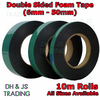 10M Black Super Strong Double Sided Foam Tape Permanent Self Adhesive Trim Body