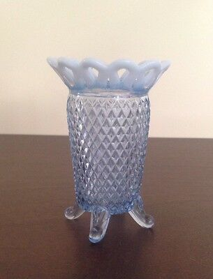 Vintage Kate Lace Blue Opalescent Footed Vase