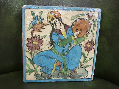 """Early PERSIAN CERAMIC TILE Hand-Made/Painted MUSICIAN 7"""" NICE"""