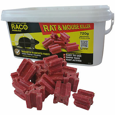 36 x 20g RACO POISON BLOCK BAIT - RODENT MICE MOUSE RAT - PROFESSIONAL STRENGTH