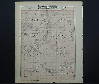 Minnesota Antique County Map 1874 #02 County of Steele or Dodge Double Sided