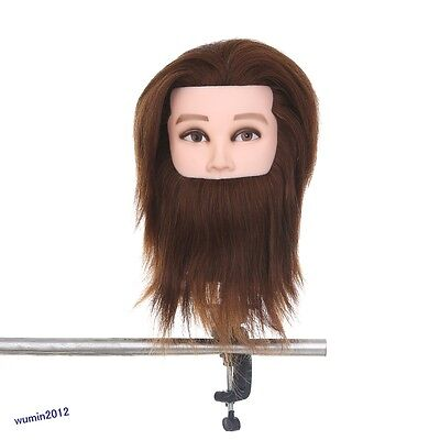 100% Real Human Hair Hairdressing Training Mannequin Man With Beard Head +Clamp