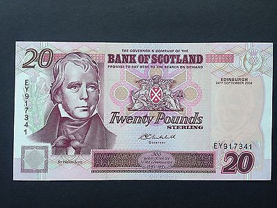 Scotland 20 Pounds P121e Bank of Scotland EY917341 Dated 24th September 2004 UNC