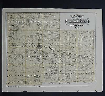 Minnesota Antique County Map 1874 Olmsted County, City of Rochester