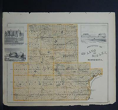 Minnesota Antique County Map 1874 Counties of McLeod & Sibley