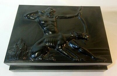 Vtg HICKOK Card Trinket ART DECO BOX Greyhound Dog Classical Paul MANSHIP Dude