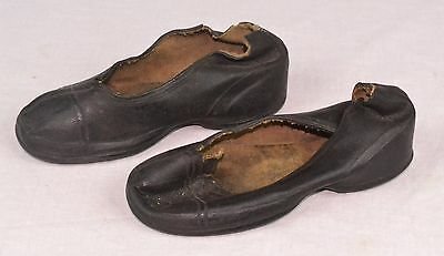Pair Of Antique Childs Shoes - Black Leather With Rubber Soles - Bay State