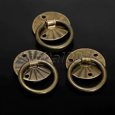 12pcs Antique Brass Mini Jewelry Box Pull Handle Chest Drawer Cabinet Knobs Ring
