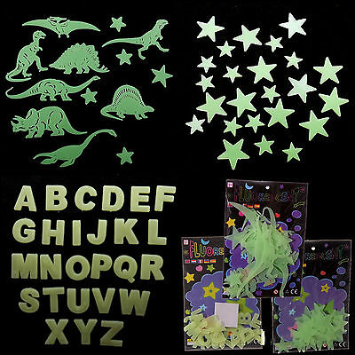 Glow In The Dark Plastic Stars, Dinosaurs and Letters - Stick On Ceiling / Wall