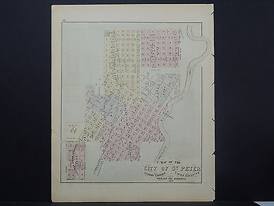 Minnesota Antique County Map 1874 City of St. Peter L18#86