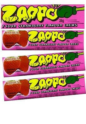 Bulk Lollies 12 x ZAPPO CHEWS STRAWBERRY Sweets Party Favours Candy Wrapped