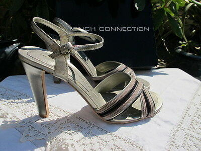 Brand new FRENCH CONNECTION chevron pewter leather SANDALS shoes bnib uk6 eu39