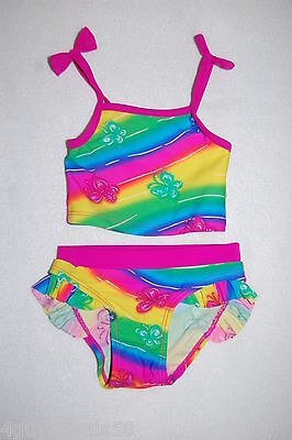 Toddler Baby Girls 2 PC Swimsuit NEON RAINBOW Butterfly RUFFLES Size 12 MO