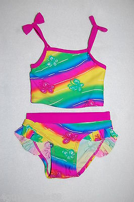Toddler Baby Girls 2 PC Swimsuit NEON RAINBOW Butterfly RUFFLES Size 18 MO