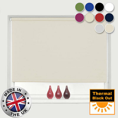 100% Thermal Blackout Roller Blinds - Easy To Fit - 10 Colours