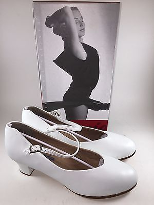 "Capezio 550 White Leather Tap Jr. Footlight Ballroom 1 1/2"" Heels/Shoe-NIB-8 M"