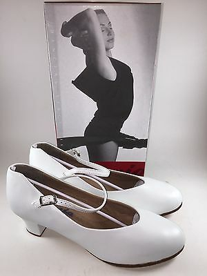 "Capezio 550 White Leather Tap Jr. Footlight Ballroom 1 1/2"" Heels/Shoe-NIB-5 M"