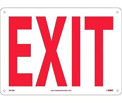 """NMC M24RB SAFETY SIGN - """"EXIT"""" 10"""" X 14"""" Red on White Rigid Plastic."""