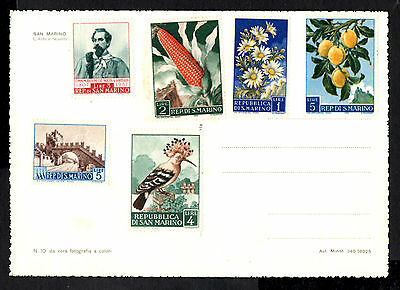 (Ref-7907) San Marino - Stamps from 1957/1958 on an unused picture postcard