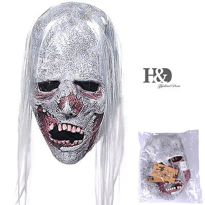 Scary Latex Bride With White Hair Mask Halloween Party Costumes Prop Fancy Dress