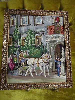 vintage hand made  petit point needle point framed