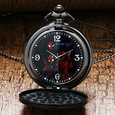 Black Face Quartz Pocket Watch Spiderman Necklace Cool DEADPOOL Steampunk Gift