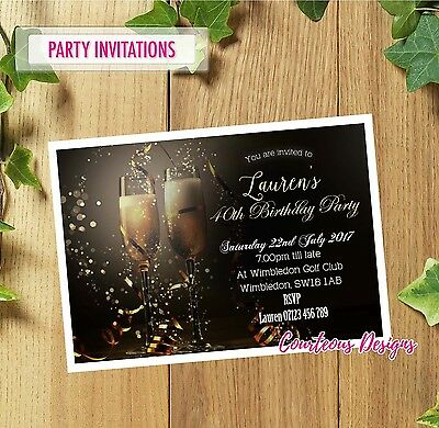 Personalised Birthday Party Invitations 40th 50th 60th 30th 21st + Envelopes