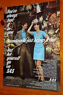 1970 Sas Scandanavian Airlines Canadian Ad - Let Yourself Go / Retro Vintage