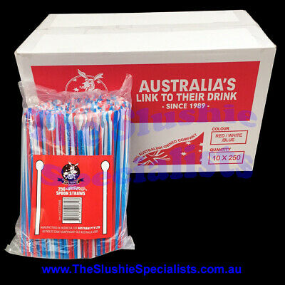 Twisted Red/White/Blue Spoon Straws (Qty 2500) / The Slushie Specialists