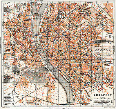 Budapest historical map from 1911 (Wagner & Debes) Vintage Print Poster