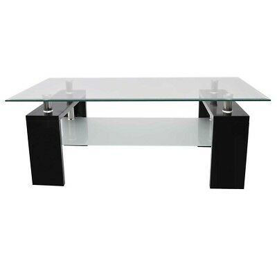 NEW High Gloss White Black Coffee Table MDF Safety Glass Tabletop