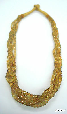 vintage citrine topaz gemstone faceted beads necklace strand 5 line india