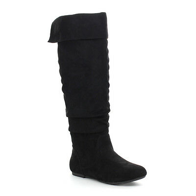 Women's Slouch Size Zipper Flat Over The Knee High Boots BLACK